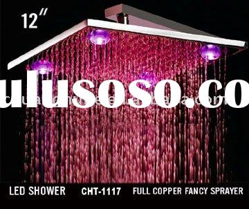"""12"""" Square Chromed Brass LED Rain Shower Head (2 Color Changing) (Temperature detectable)"""