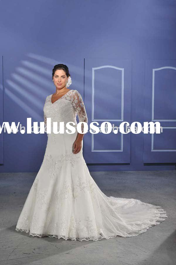 2010 fashion long sleeves lace plus size wedding dresses,big over size bridal wedding gowns P025