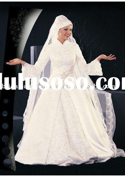 2011Newest Arab long sleeve elegant lace wedding dress/gown dressZAB5201
