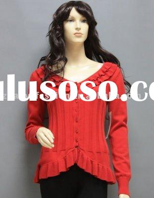 2011-LS085 LADIES LONG SLEEVE V- NECK BUTTON CARDIGAN SWEATER