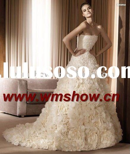 2011 Latest Style Beautiful Ball Gown Strapless Dubai Wedding Gown