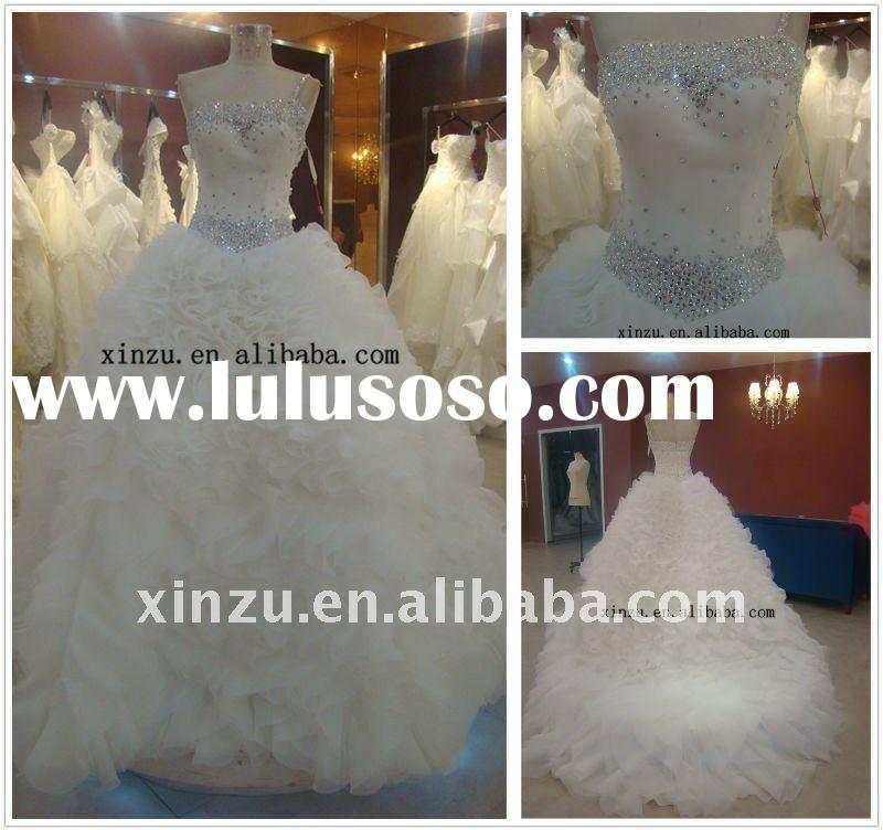 2011 New Designer Single Strap Beading A-line Wedding Gowns and Bridal Dress--SZWD31