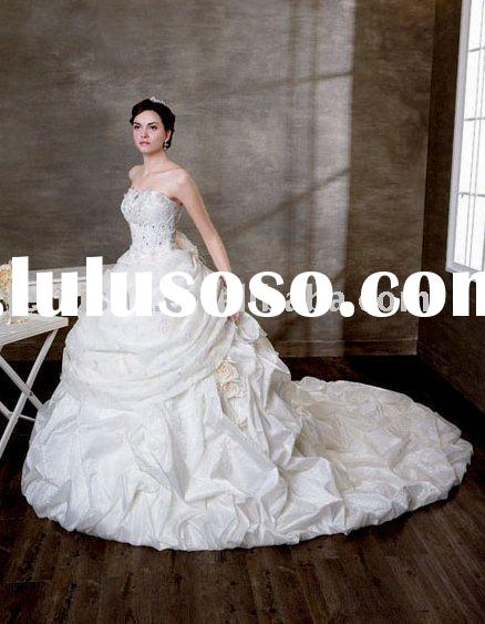 2011 New stunning and elegant long train ruffle and embroidered ball gown Satin Royal Wedding Dress