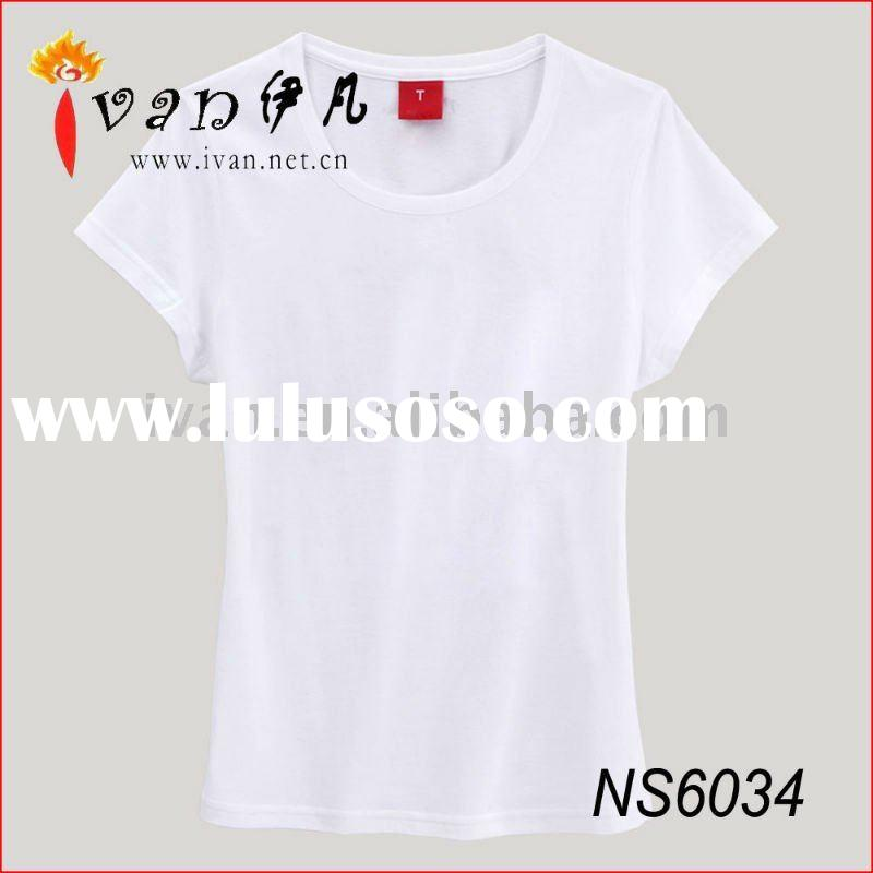 2011 Newest 100% Cotton Plain Women Fitted Blank T-shirts