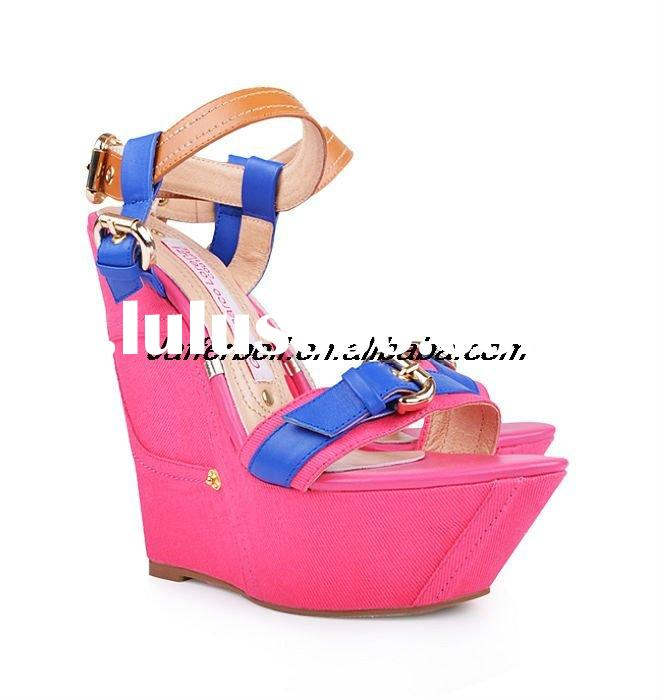 2011 Newest fashion brand high heel wedge sandal with strap&buckle