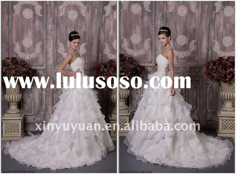 2011 Real Sample A Line Sweetheart Strapless Off Shoulder Organza Beading Ruffle Gown Wedding Dress