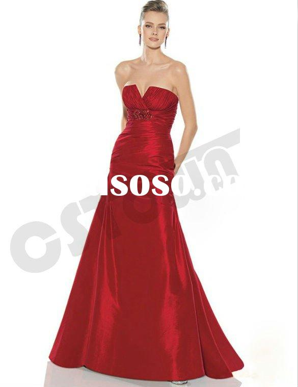 2011 Red Backless Strapless Evening Dress