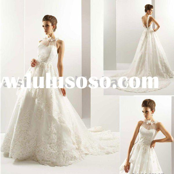 2011 T442 Jasmine Halter Tulle A-Line Chapel Train Bridal Gown Wedding Dresses