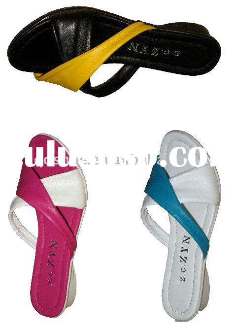 2011 hot sell new design hot Fashion Ladies' PU sandals slippers
