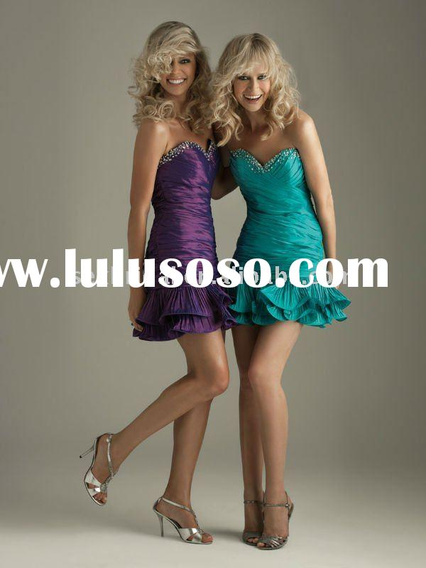 2011 latest purple green fashion short summer evening dress