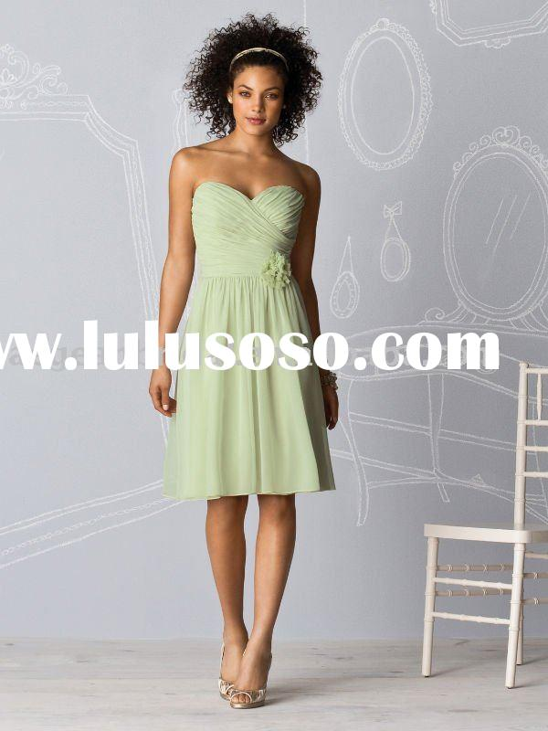2011 light green chiffon sweetheart short elegant cheap western bridesmaid dress M5032
