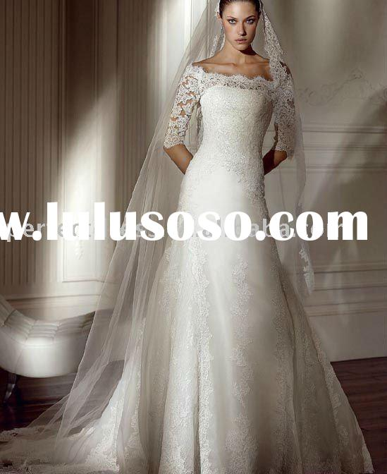 2011 new model long sleeve lace wedding dresses NSW0470