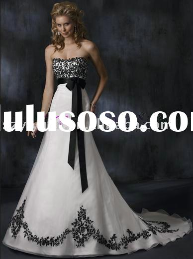 2011 new style black and white lace bridal wedding dress