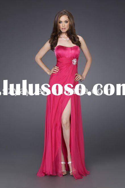 2011 new style red strapless chiffon satin evening dress gown AY6975