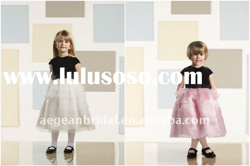 2011 top popular ruffle cap sleeve organza flower girl dress with sash ZS-d0014