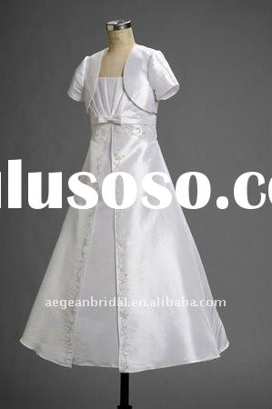 2011 top popular white taffeta flower girl dress with jacket ZS-d0072