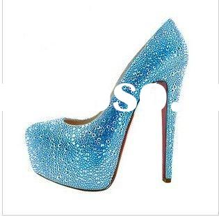 2011 trendy blue rhinestone bridal wedding shoes