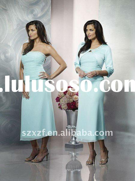 2011stunning elegant long sleeve off-shoulder mother of the bride dress