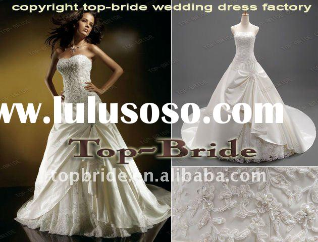 2012 AS048 Real Pictures Wholesale Satin Applique Beaded Bridal Wedding Dresses/Gowns