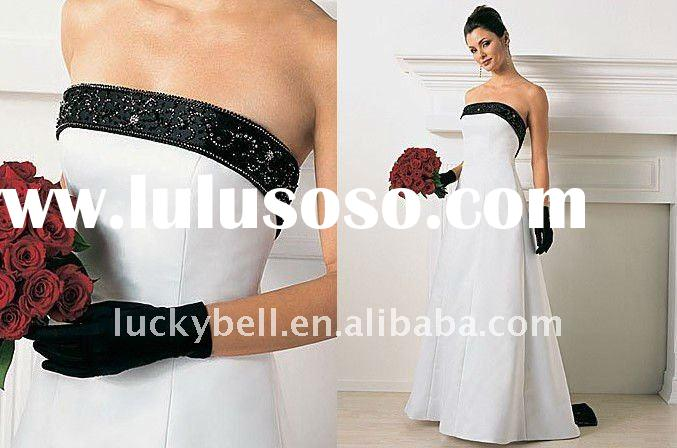 2012 Beautiful Ankle-Length White and black Wedding dress