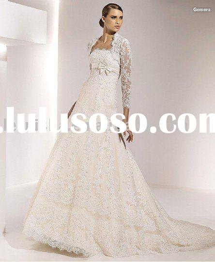 2012 European style long sleeve lace wedding dress LFS1151