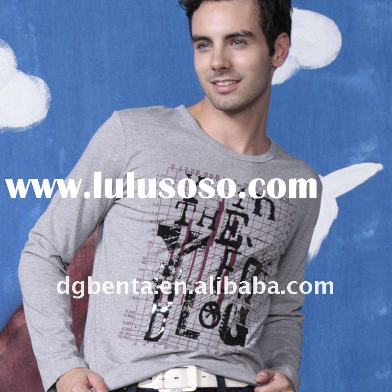 2012 Hot Selling Spring Newest Fashion Design High Quality Cotton Plain Man's T-shirt