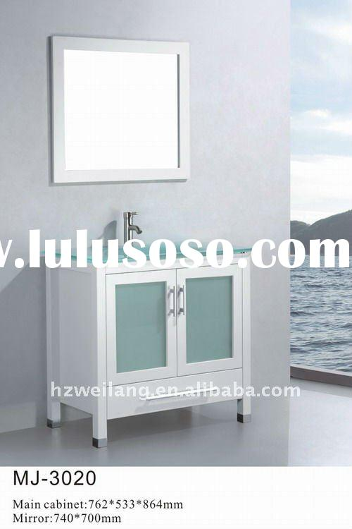 2012 Hot sell Solid wood bathroom Cabinet with glass basin