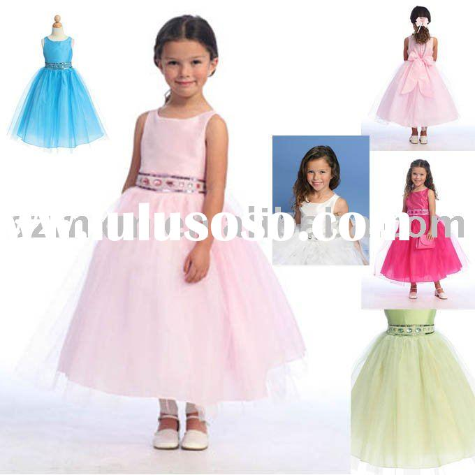 2012 KK105 high quality lovely flower girl dress beading(MOQ 1 piece)