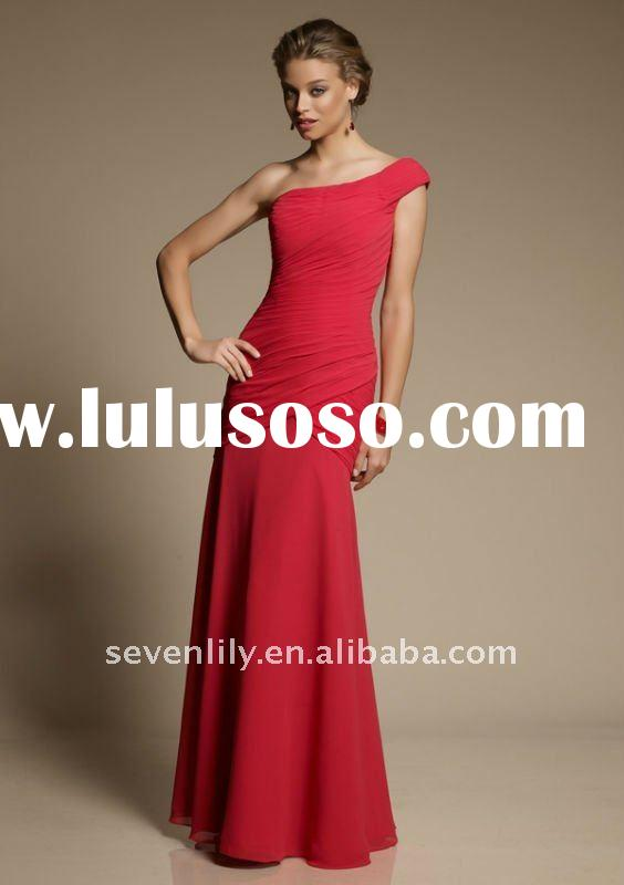 2012 New Elegant One-Shoulder Dark Red Bridesmaid Dresses