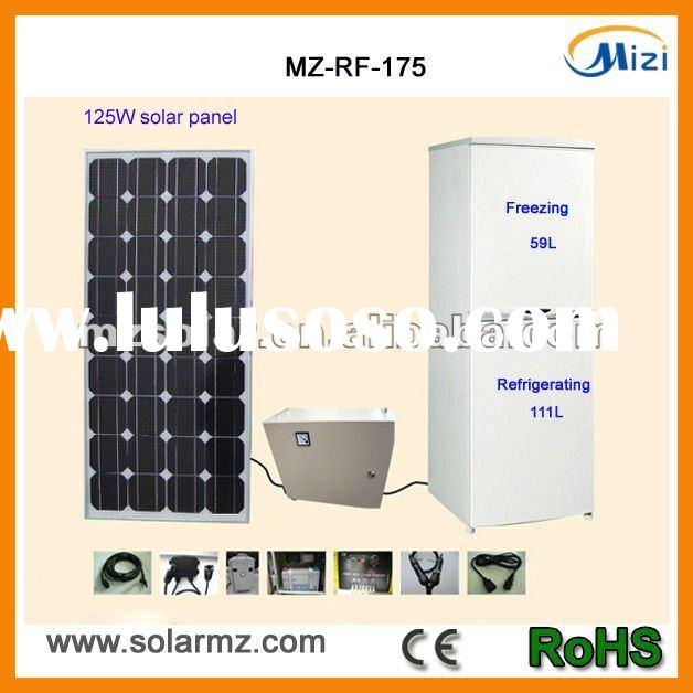 2012 Newest design DC 12V 175L display compressor solar refrigerator freezer for without electric po