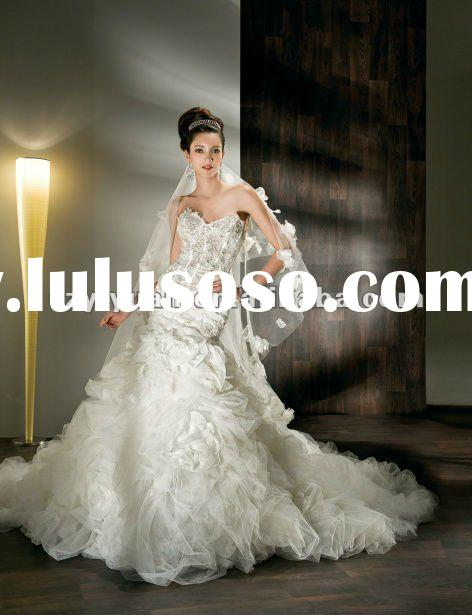 2012 Sparking tulle beaded lace and skirt organza flower Wedding Dress/Gown