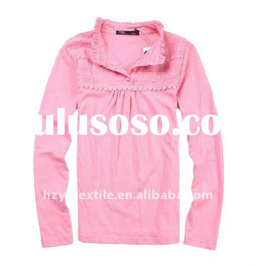 2012 Spring ruffle turtleneck lady t-shirt long sleeve cotton tops girls fancy blouse