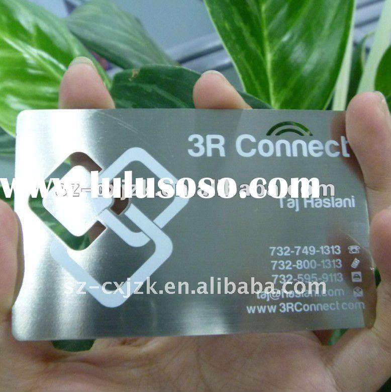 2012 Stainless steel metal business card with special die cut