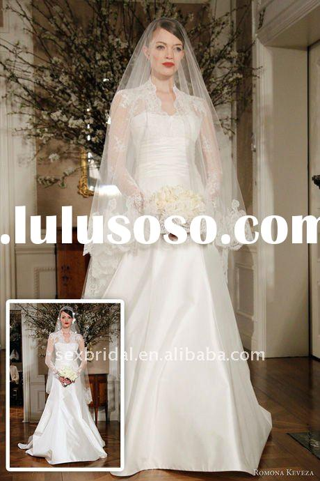 2012 White long sleeve Lace wedding dress DC-MR001