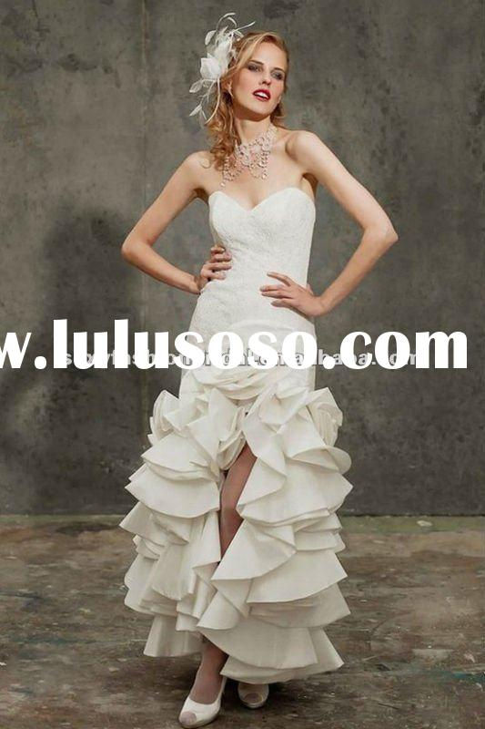 2012 distinct style sweetheart lace accented ruffle accented short front long train wedding dress