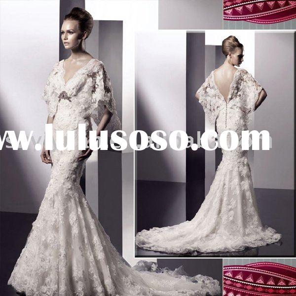 2012 exquisite long sleeve V-neck lace mermaid wedding dress