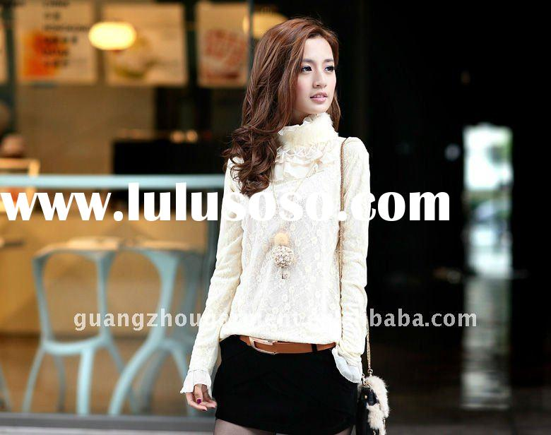 2012 korean new style long sleeve blouse/t shirt for lady