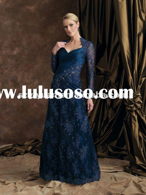 2012 latest crystal beaded lace long sleeve navy blue mother of the bride dresses