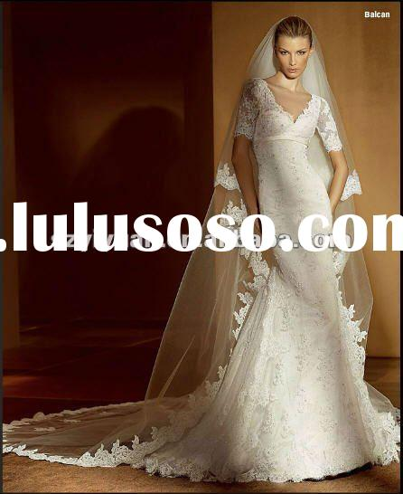 2012 latest crystal beaded long sleeve V collar lace bridal wedding dresses