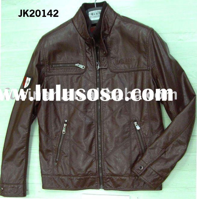 2012 men's new style casual imitation leather windproof jacket