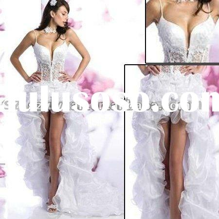 2012 new style sweetheart crystal front short and long back bridal wedding dress /gown
