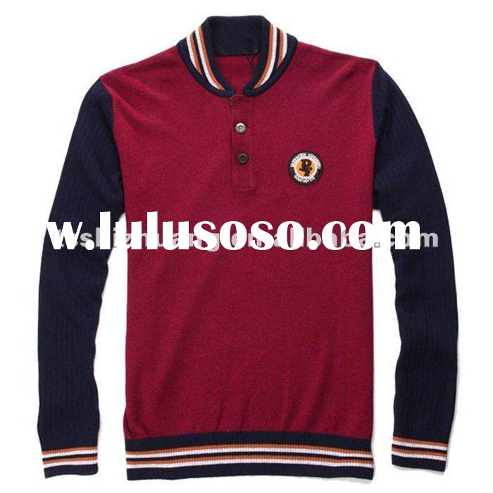 2012 small MOQ 100% wool stand-by collar high weight designers sweater for men