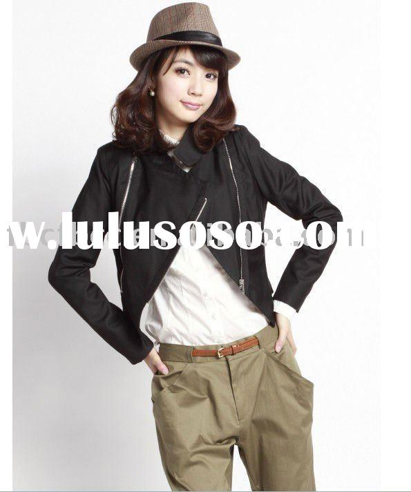 2012 top design FW collection black lady jacket(F003)
