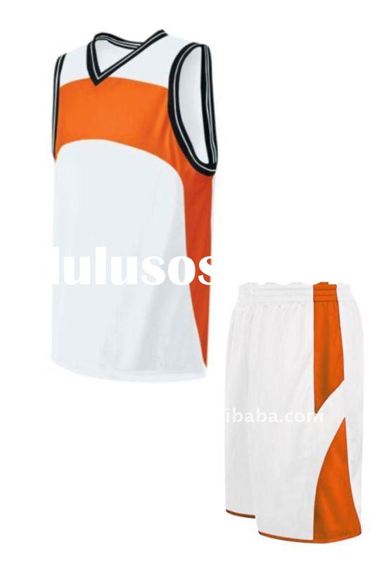 2013 New high quality white/orange of Basketball uniform/kits full athletic fit game jersey polyeste
