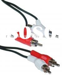 2 RCA Male to 2 RCA Male cable+ Female Piggyback Audio Cable