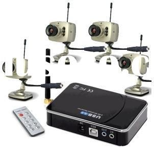 4 channel USB 2.0 Wireless Quad and Camera Receiver 4 channels wireless camera kit cctv camera(ZC803