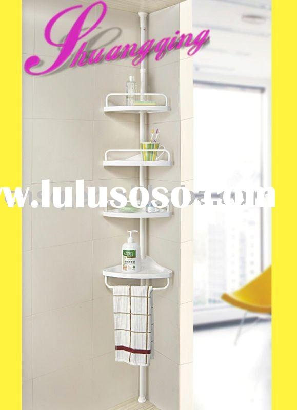4layer corner pole plastic bathroom shelf with towel holder