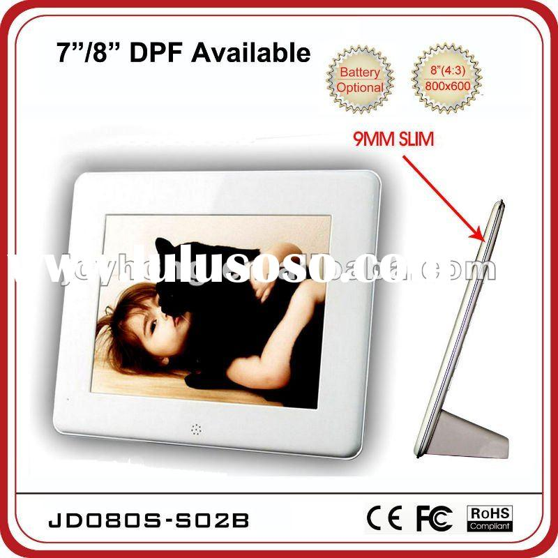 8 inch Slim digital photo frame with built-in battery