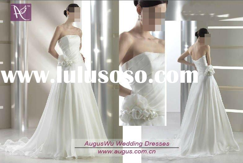 AWB0308 2012 Beautiful Simple Style Snow White Bridal Gown Wedding Dress