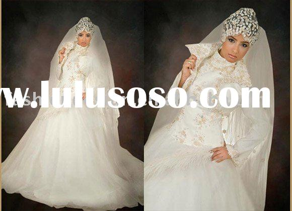 AWD111 2010 fashion lebanon lace appliques long sleeves muslim wedding dress